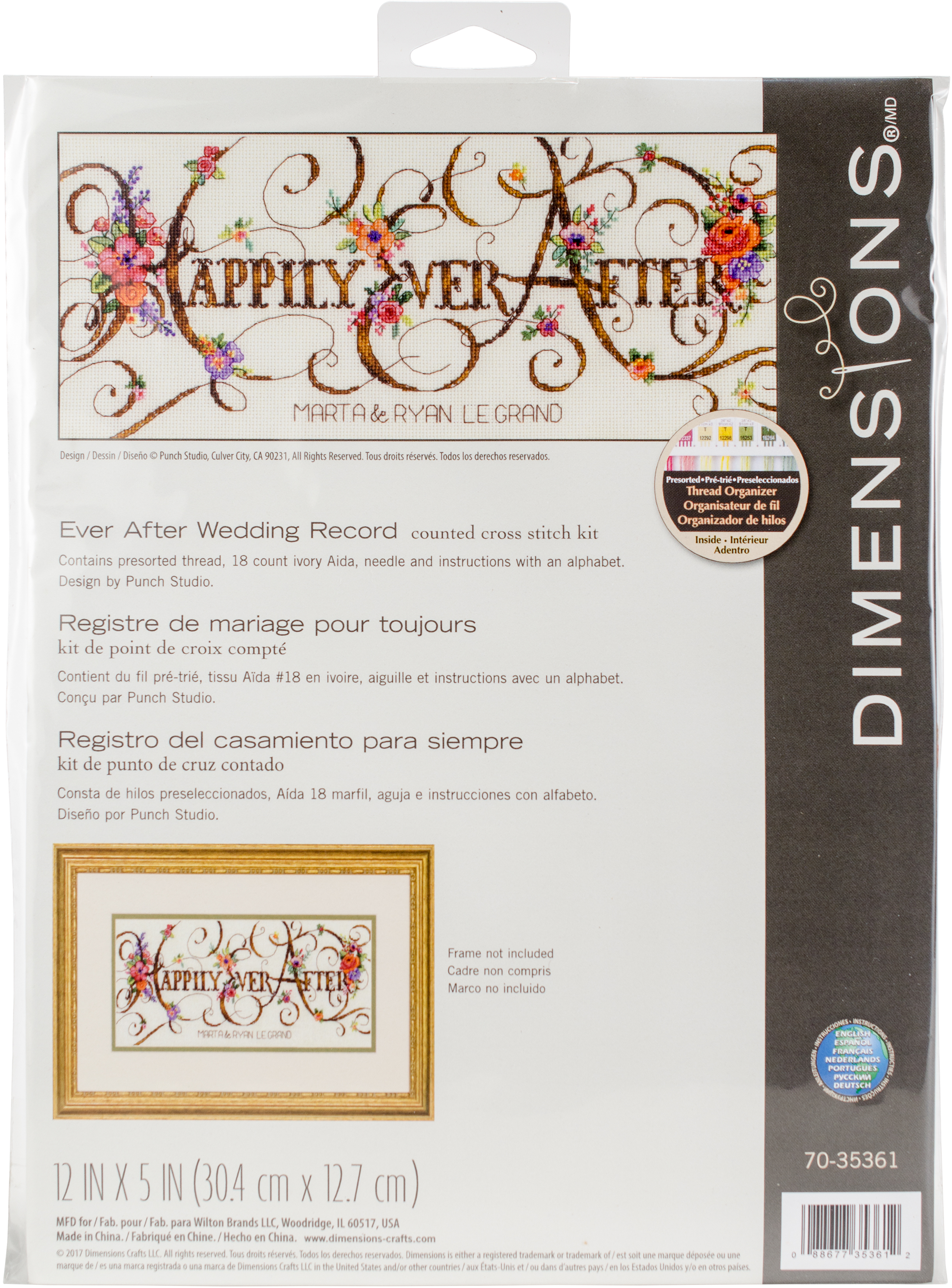 Dimensions Counted Cross Stitch Kit 12 X5 Ever After Wedding Record