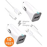 LG GX F310L Charger (10 FEET) Micro USB 2.0 Cable Kit by TruWire {2 Car Charger + 2 Micro USB Cable} True Digital Adaptive Fast