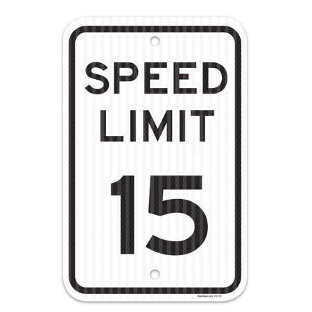 Aluminum Speed Limit Sign - Speed Limit 15 MPH Sign, Federal 12