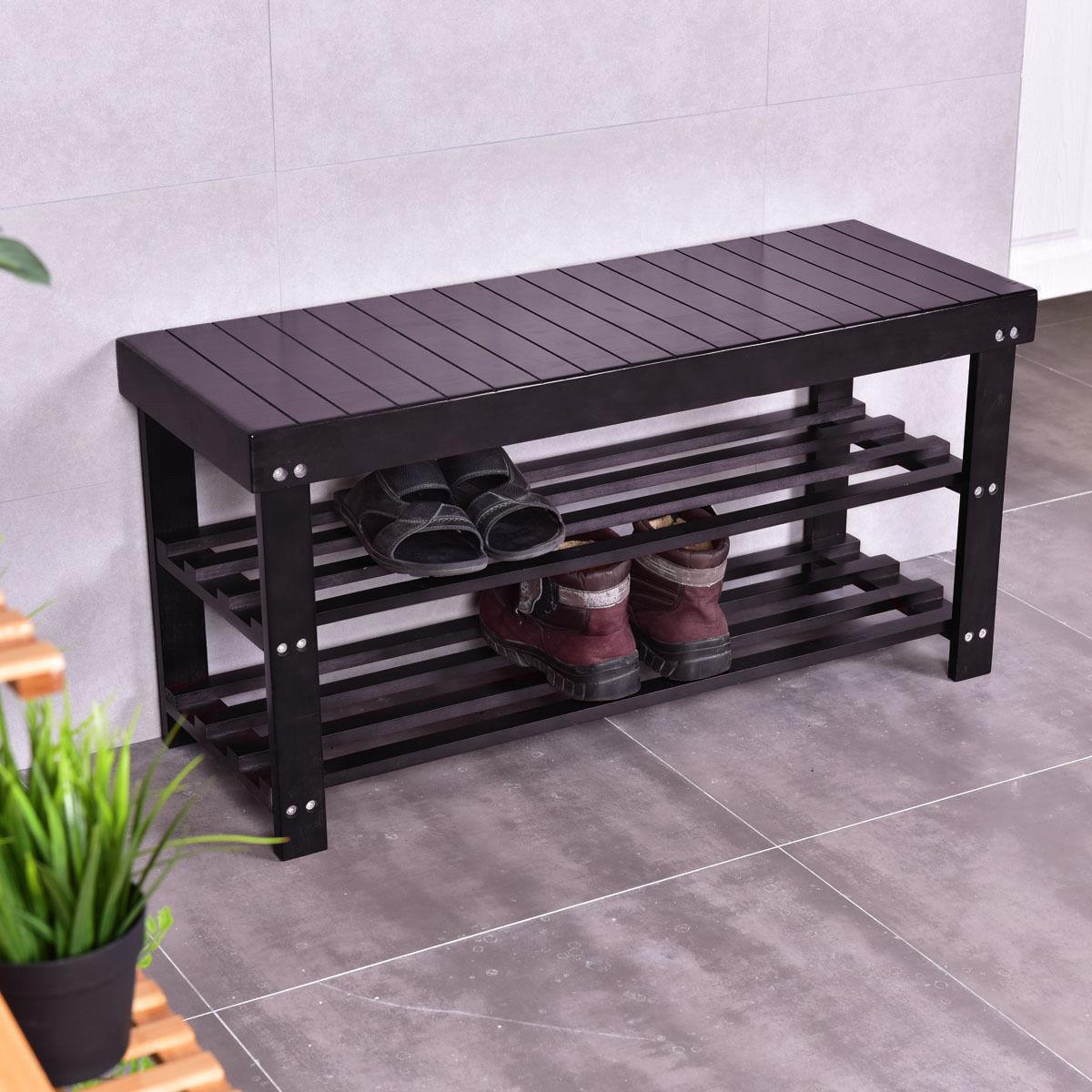 "Ktaxon 36"" Solid Wood Shoe Bench 3 Tier Storage Racks Seat"