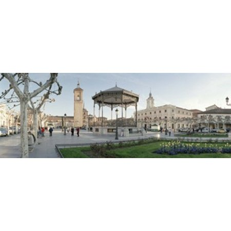 Tourists in front of buildings Plaza De Cervantes Alcala De Henares Madrid Spain Canvas Art - Panoramic Images (18 x 7) - Fiestas De Halloween Madrid