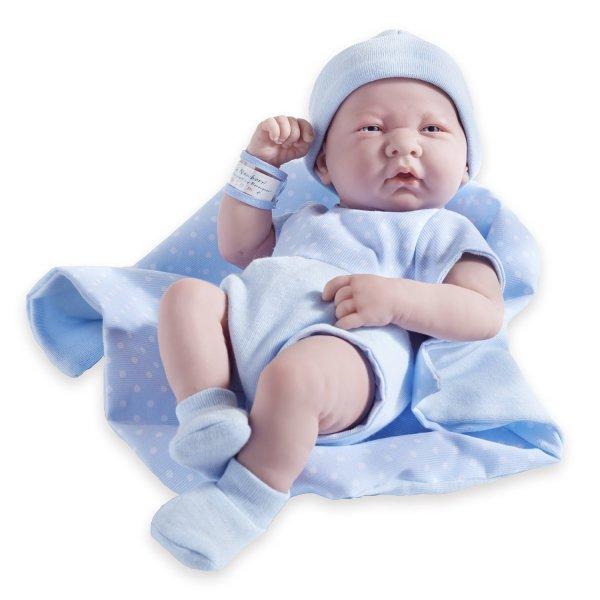 "JC Toys La Newborn Doll 14"" All-Vinyl in 5-piece Blue romper set. REAL BOY!"