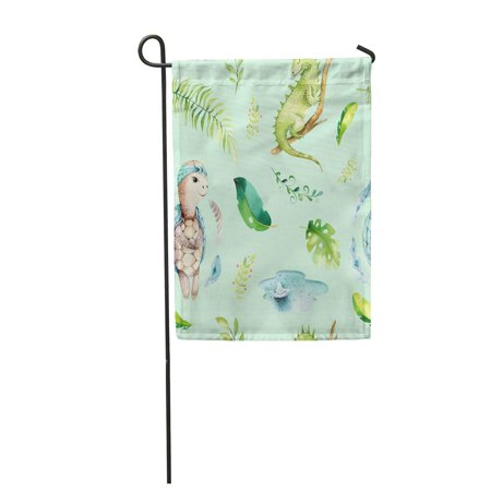 Iguana Garden (SIDONKU Baby Nursery Watercolor Boho Tropical Drawing Child Cute Iguana Turtle Garden Flag Decorative Flag House Banner 12x18 inch )