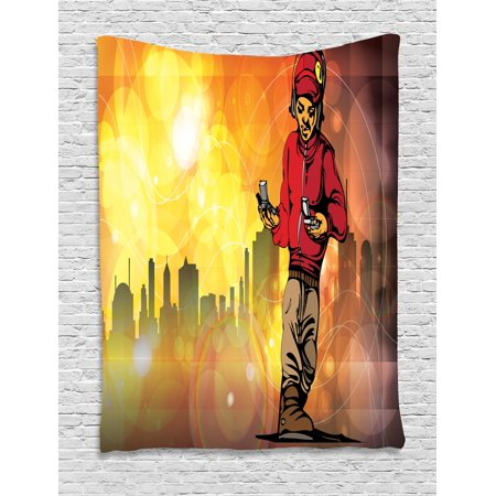 Hip Hop Tapestry, Rap Music and Dance Themed Image with a Rapper Guy and  City Skyline Background, Wall Hanging for Bedroom Living Room Dorm Decor,  40W