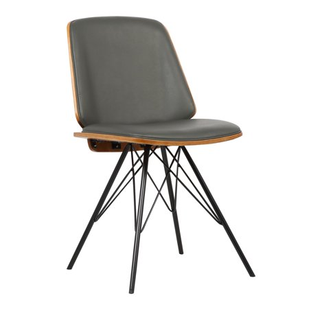 Armen Living Inez Mid-Century Dining Chair in Gray Faux Leather with Black Powder Coated Metal Legs and Walnut Veneer Back ()