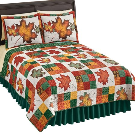 Revirsible Patchwork Quilt with Colorful Fall Leaves on White Background and Green Tone on Tone Leaves Reverse Side, Autumn Colors, King, Red And Green ()