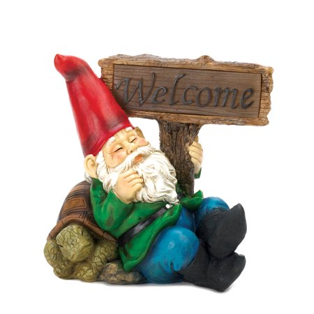 gnome funny garden gnomes statues outdoor miniature welcome gnome solar statue - Funny Garden Gnomes