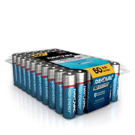 Rayovac High Energy Alkaline, AA Batteries, 60 Count