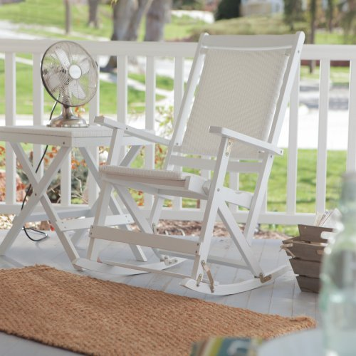 Willow Bay Folding Resin Wicker Rocking Chair - White
