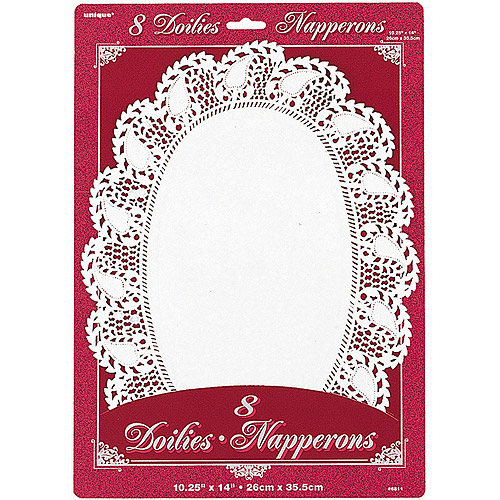 Oval White Lace Paper Doilies, 8ct