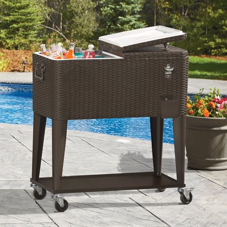 Clevr Outdoor Patio 80 quart Party Portable Rolling Cooler Wheeled Ice Chest with Bottle Opener, Brown Rattan Rolling Party Cooler
