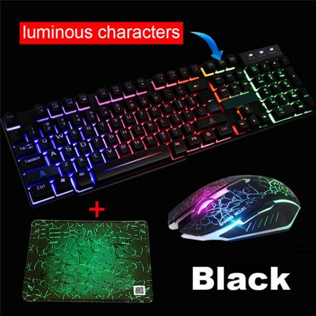 T6 Gaming Keyboard Mouse Combo, RGB LED Backlit 104 Keys USB Wired Ergonomic Wrist Rest Keyboard, Mouse for Windows PC Gamer - [Keyboard Mouse (The Best Gaming Keyboard 2019)