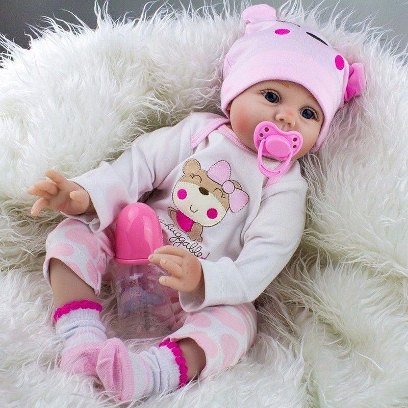 17/'/' Handmade Lifelike Baby Reborn Toddler Girl Doll Soft Silicone Vinyl Newborn