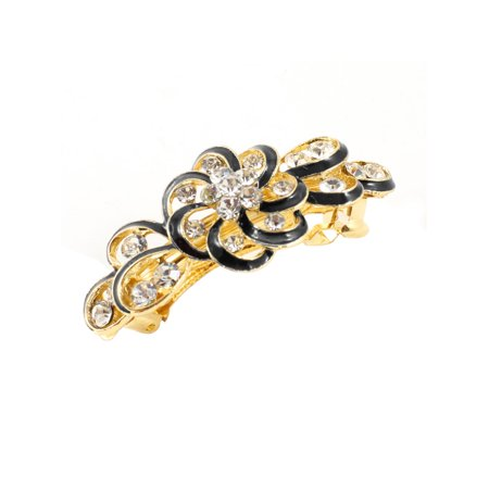 Unique Bargains Woman Bling Rhinestone Gold Tone Metal Black Flower Hair Clip Barrette (Gold Tone Flower Clip)