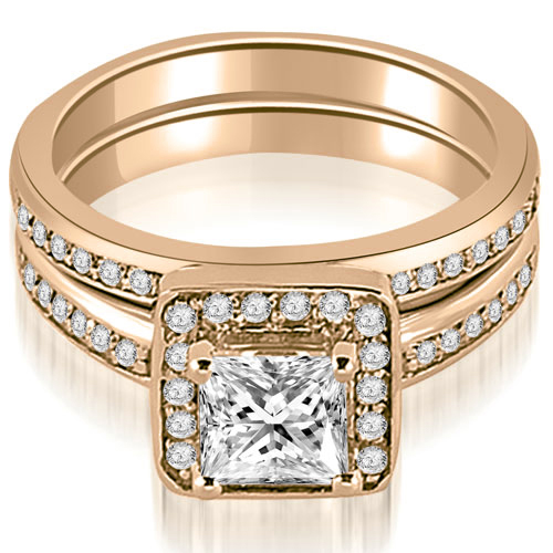 0.85 CT.TW Halo Princess and Round Cut Diamond Matching Set in 14K White, Yellow Or Rose Gold