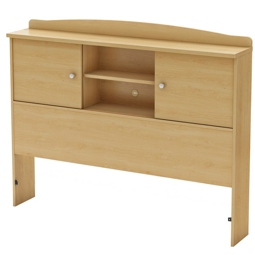 South Shore Clever Full Bookcase Headboard, Natural Maple