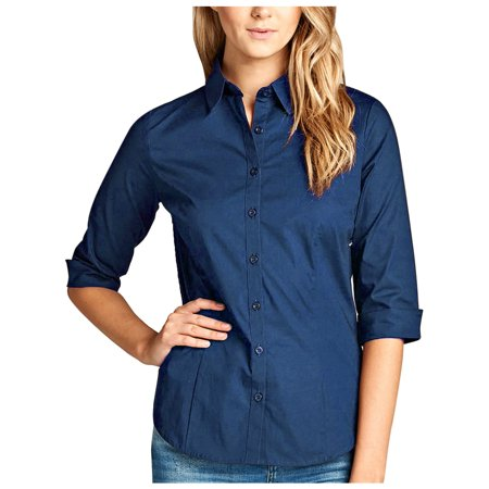 45cfed81 KOGMO Womens Classic Solid 3/4 Sleeve Button Down Blouse Dress Shirt