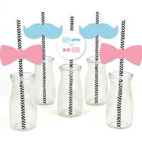 Baby Gender Reveal - Paper Straw Decor - Baby Shower  Striped Decorative Straws - Set of 24