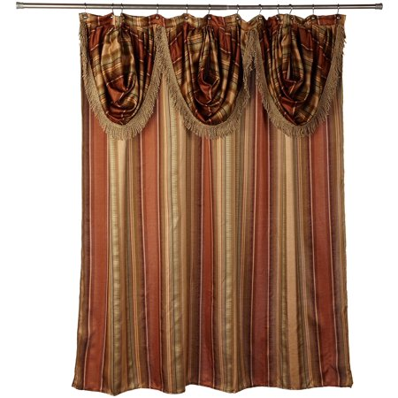 """Contempo Spice with Attached Valance Fabric Shower Curtain Size 72"""" Width X 72"""" Length ( 180 cm X 180 cm ), 100% Polyester By Popular Bath"""