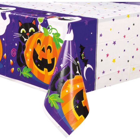 Happy Halloween Plastic Tablecloth, 84 x 54 in, 1ct - Happy Halloween Corgi