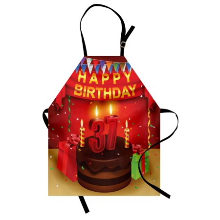 - 37th Birthday Apron Chocolate Cake Gifts Balloons Flag Cute Icons Candles Artsy Design Image, Unisex Kitchen Bib Apron with Adjustable Neck for Cooking Baking Gardening, Multicolor, by Ambesonne