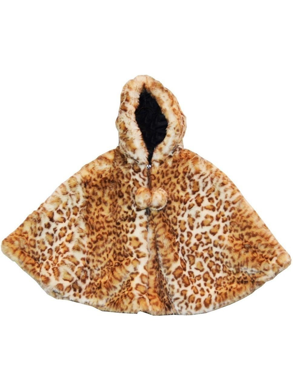 Little Girls Snow Leopard Faux Fur Poncho 1T-6