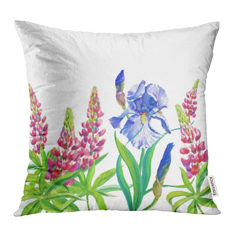 ARHOME Blue Violet Irises Pink Lupine Watercolor Flowers Leaves on White Pillowcase Cushion Cases 16x16 inch
