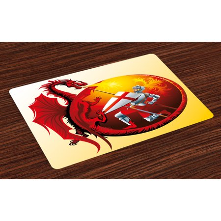 Dragon Placemats Set of 4 Saint George with Fire Spitting Winged Creature Royal Knight Graphic, Washable Fabric Place Mats for Dining Room Kitchen Table Decor,Silver Ruby Earth Yellow, by (George Fabric)