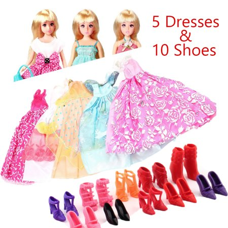 5Pcs Handmade Princess Party Gown Dresses Clothes 10 Shoes For Barbie doll On Clearance - Adult Doll Dress