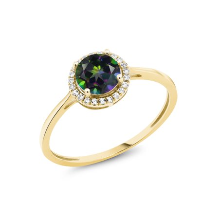 1.22 Ct Round Green Mystic Topaz White Diamond 10K Yellow Gold Ring