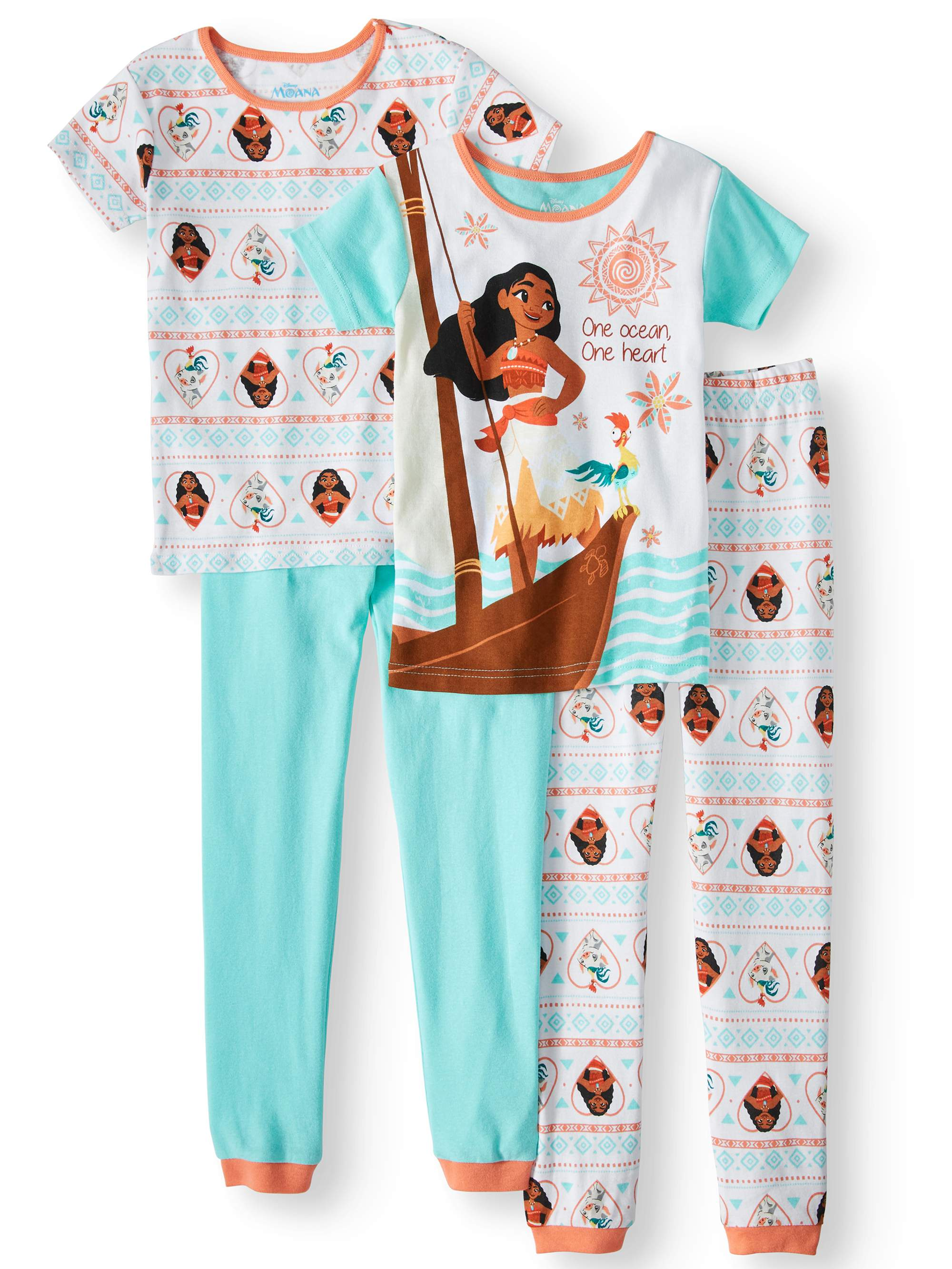 Girls' Moana 4-Piece Pajama Sleep Set
