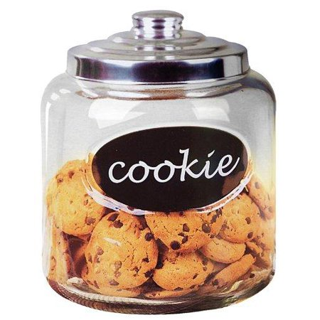 Home Basics Large Capacity Glass Cookie, Pasta, Sugar, Flour, Cereal, Jar with Secure Metal Lid and Decorative Jar Label ()