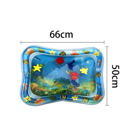 Inflatable Baby Water Mat, PVC Tummy Time Water Mat Fun Activity Play Center for Infants & Kids &Toddlers, Early Education Inflatable Patted Water Play Pad Cushion, 26 x 20'', Blue - image 6 of 8