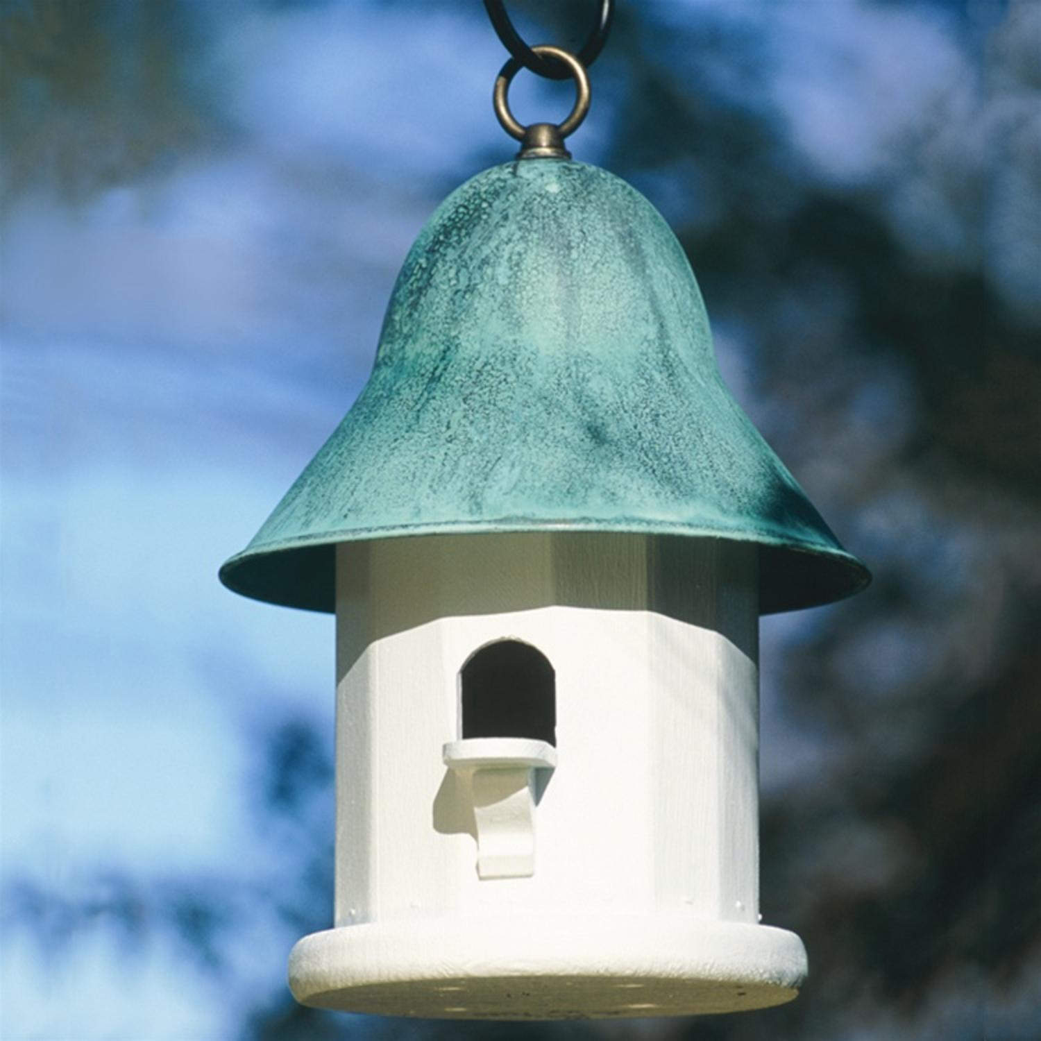"""14"""" Enchanted Polished Blue Verde Copper-Top Outdoor Garden Birdhouse by CC Home Furnishings"""