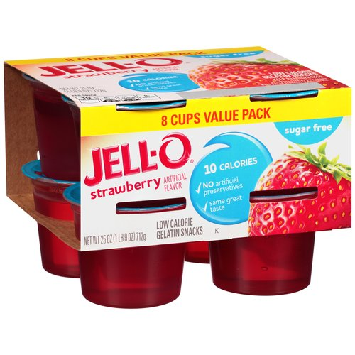 JELL-O Sugar Free Strawberry Low Calorie Gelatin Snacks, 8 count, 25 oz