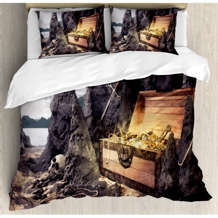 Fantasy Queen Size Duvet Cover Set, Open Treasure Chest with Golds and Sword in Cave Pirate Fairy Illustration, Decorative 3 Piece Bedding Set with 2 Pillow Shams, Charcoal Grey Amber, by