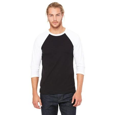 Branded Bella + Canvas Unisex 3/4 Sleeve Baseball T-Shirt - BLACK/ WHITE - XS (Instant Saving 5% & more) (Peach Shirt For Boys)