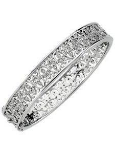 14k White Gold Diamond Bangle Bracelet 1 2ct by