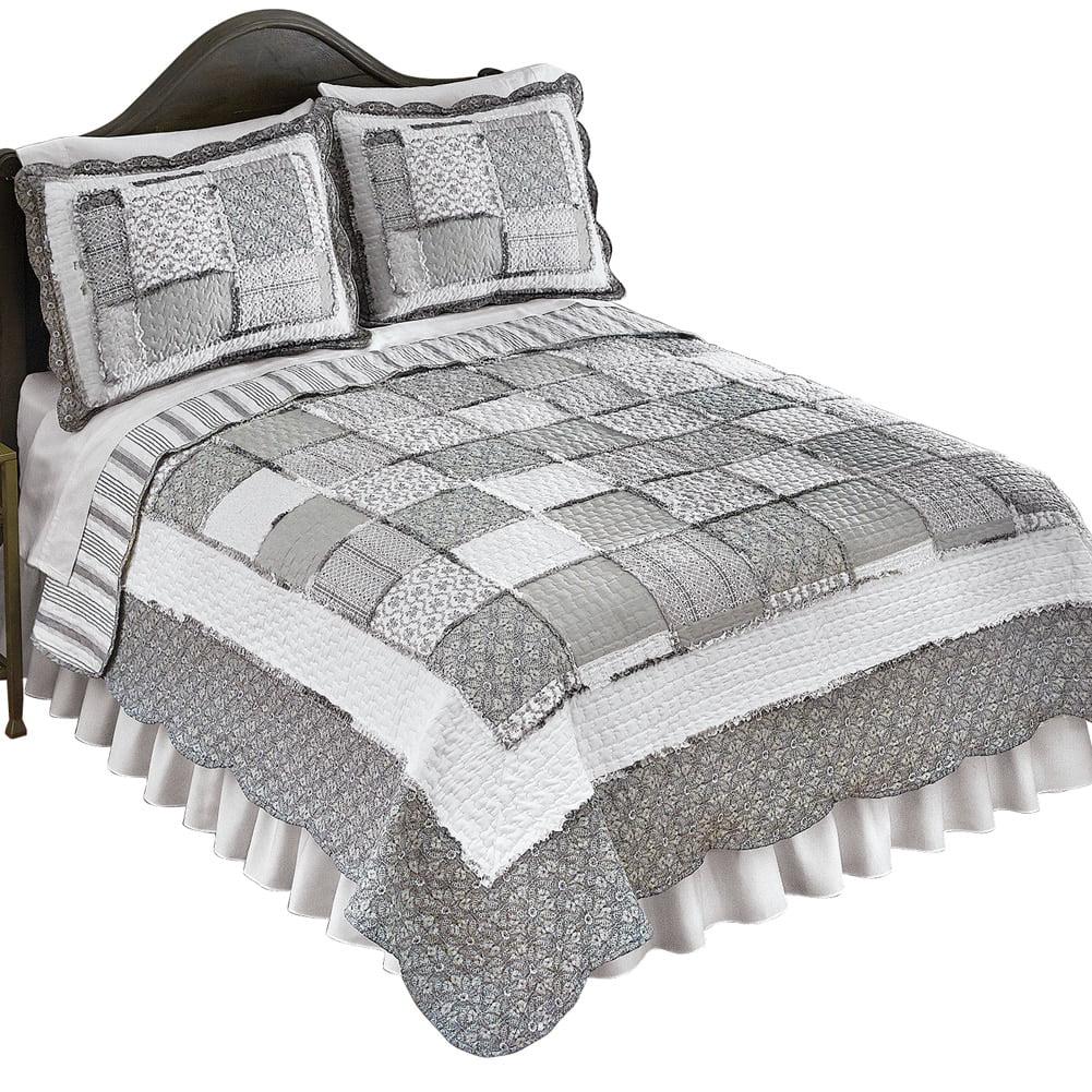 Francesca Patchwork Ruffled Border Reversible Lightweight Quilt, Full/Queen, Grey