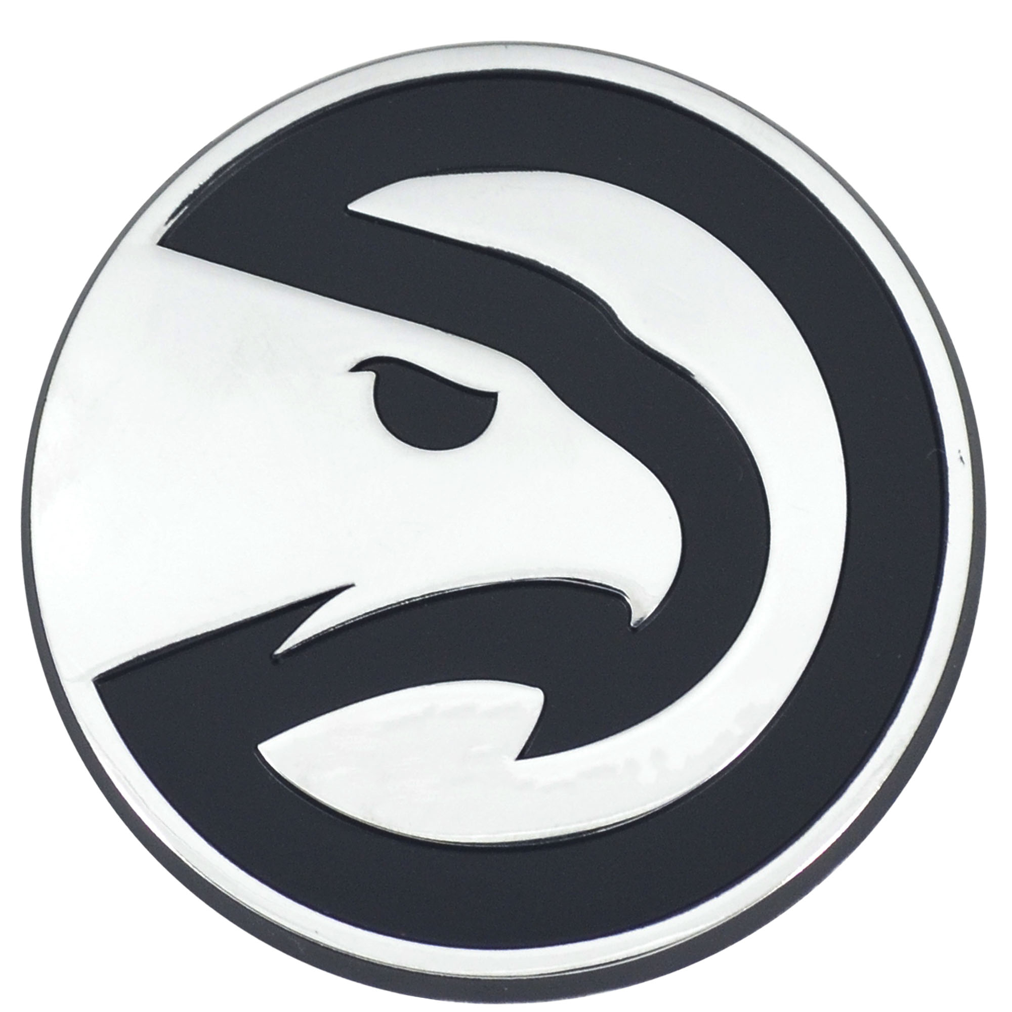Set of 2 NBA Atlanta Hawks Chrome Emblem Automotive Stick-On Car Decal