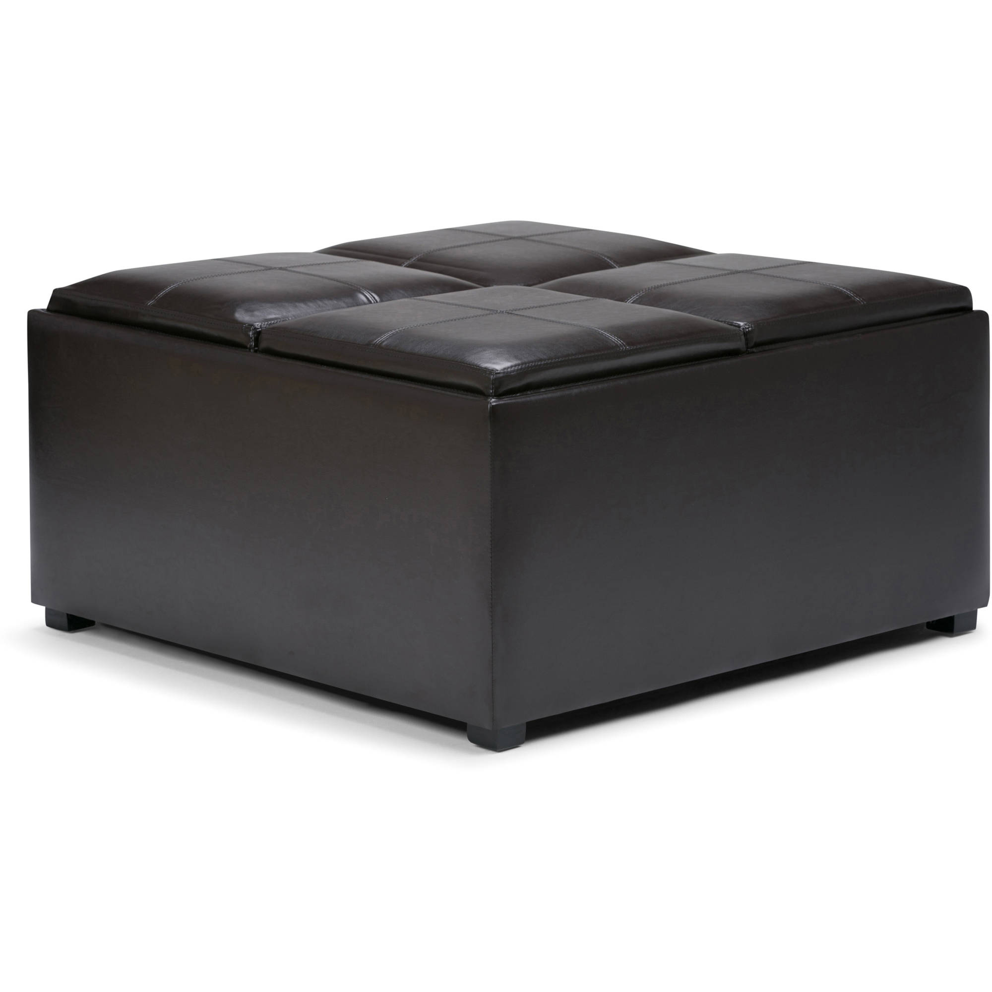 Simpli Home Avalon Coffee Table Storage Ottoman with 4 Serving