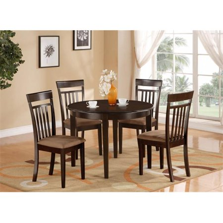 East West Furniture BOCA3-CAP-C Bosca 3PC set with round table and 2 microfiber upholstered seat chairs