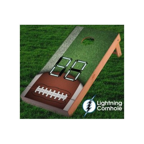 Lightning Cornhole Electronic Scoring Football Goaline Cornhole Board by