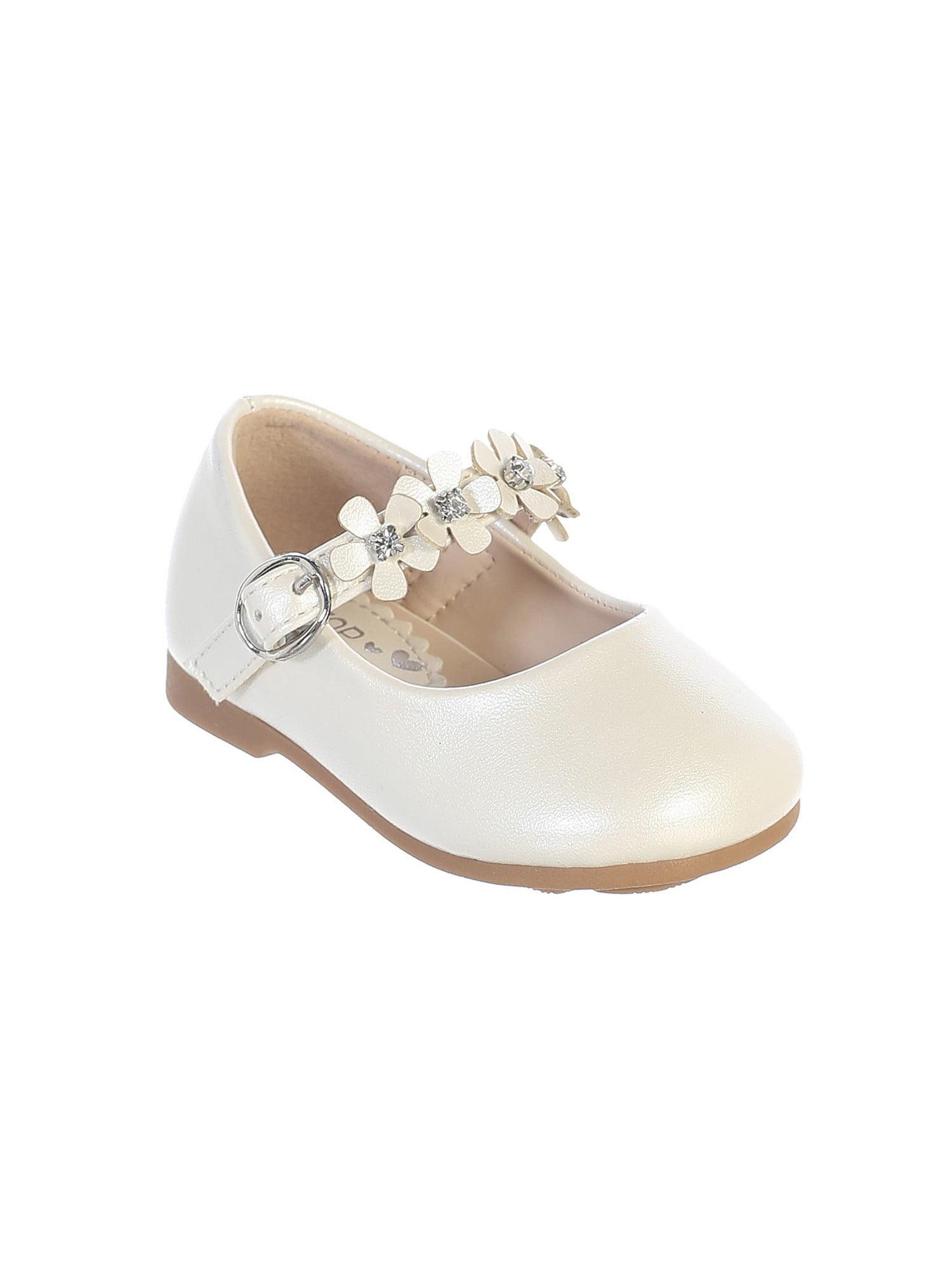 Girls Ivory Flower Embellished Strap Leatherette Mary Jane Shoes