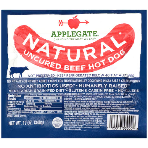 Applegate Natural Uncured Beef Hot Dogs, 12 oz
