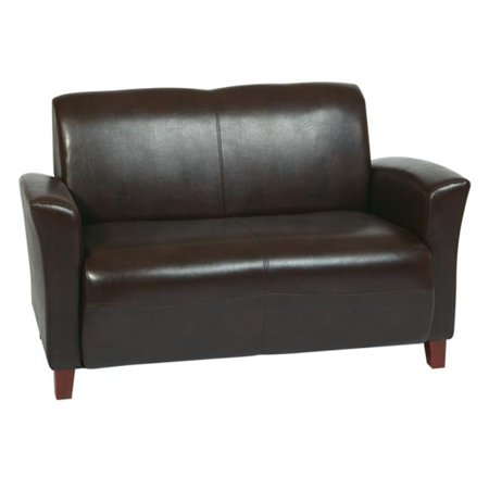 Avenue 6 Office Star SL2272EC9 Mocha Eco Leather Love Seat With Cherry Finish Legs.
