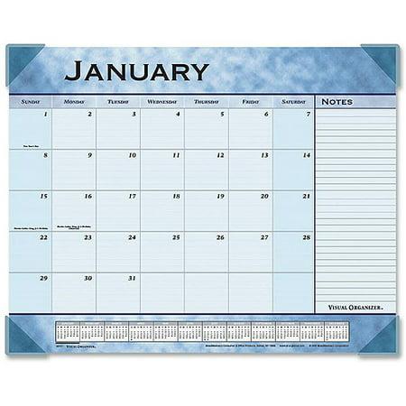 - At-A-Glance Slate Blue Monthly Desk Pad Calendar