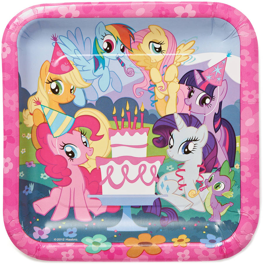 "My Little Pony 9"" Square Plate, 8 Count, Party Supplies"