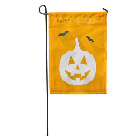 LADDKE Orange Festival Simple Happy Halloween Pumpkin and Bats Moon Party Garden Flag Decorative Flag House Banner 12x18 inch - Simple Easy Halloween Party Food
