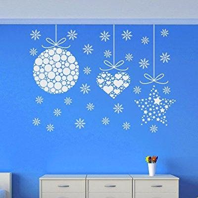 christmas wall stickers ornament snowflakes decal holiday decorations vinyl home shop window door art decor removable murals mr856 (Snowflake Decals)
